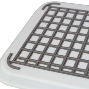 Anti-Slip Plastic Serving Tray with Easy Grip Handles, White
