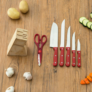 7 Piece Knife Set, Red
