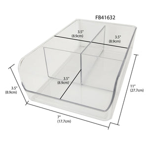 3 Compartment Plastic Fridge Bin, Clear