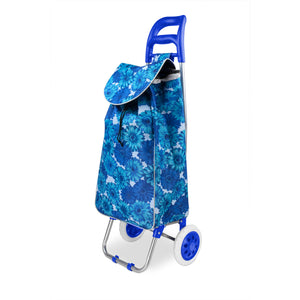 Home Basics Floral Printed Rolling Shopping Cart, Blue - Blue