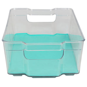 "9"" x 15"" Multi-Purpose Plastic Fridge Bin with Rubber Lining, Turquoise"