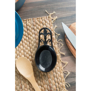 Cast Iron Fleur De Lis Spoon Rest, Black