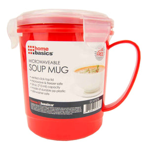 24 oz. Plastic Microwaveable Soup Mug, Red/Clear