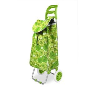 Home Basics Floral Printed Rolling Shopping Cart, Green - Green