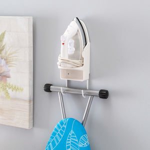 Wall Mount Ironing Board with Built-In Accessory Hooks, White