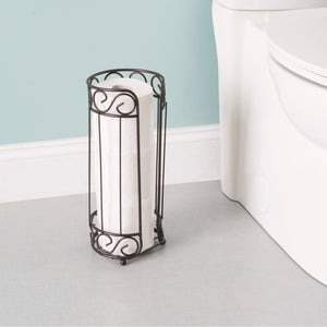Scroll Collection Bath Tissue Reserve Toilet Paper Roll Holder Stand, Bronze