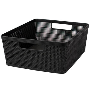Home Basics Trellis Large Plastic Storage Basket with Cut-Out Handles, Black - Black