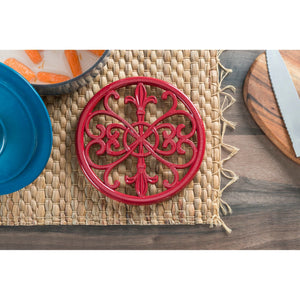 Fleur De Lis Collection Cast Iron Trivet, Red