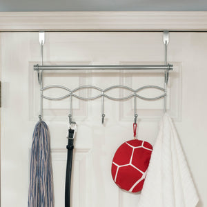 Chrome Plated Steel Over the Door Hanging Rack with Towel Bar