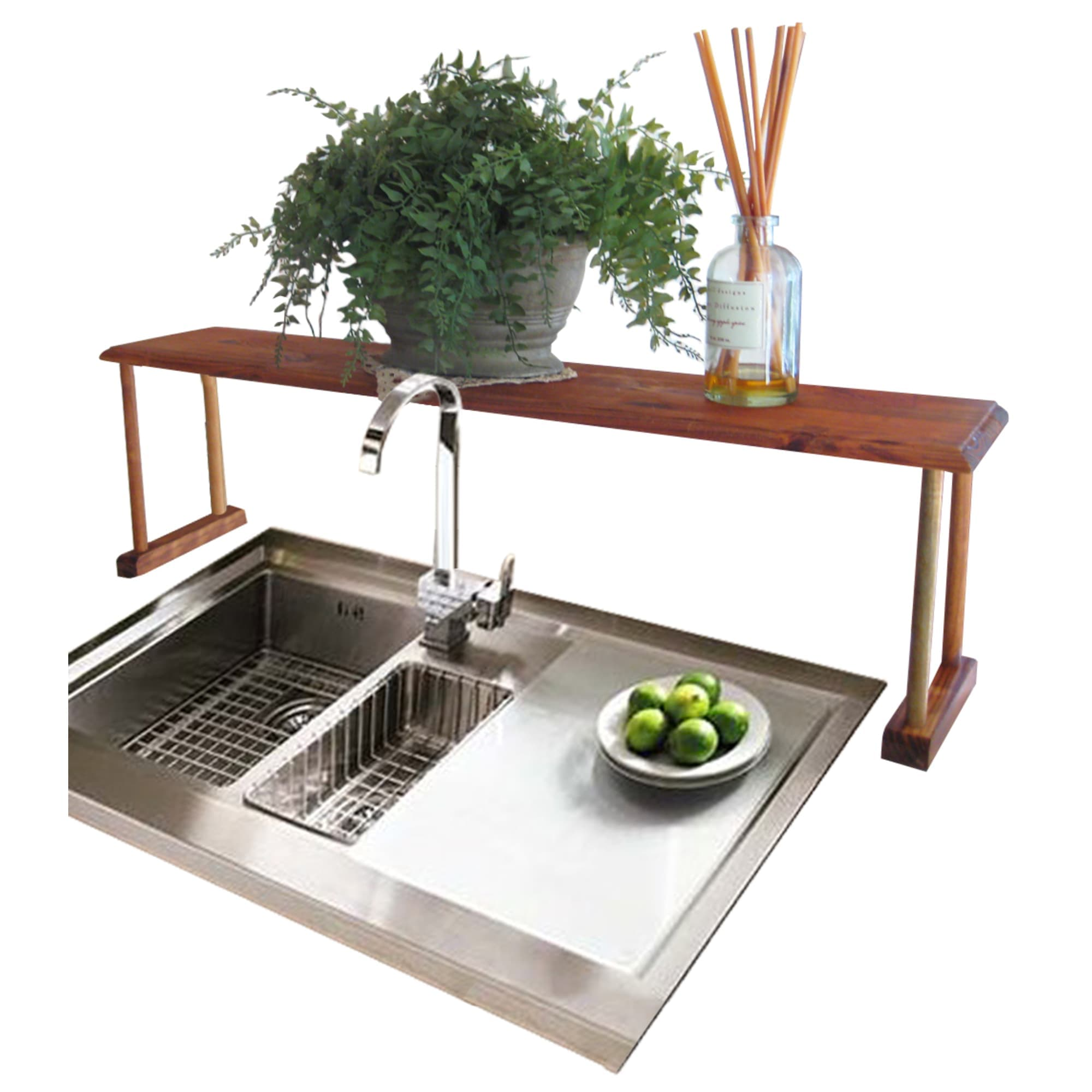 Space-Saving Pine Wood Over the Sink Multi-Use Shelf