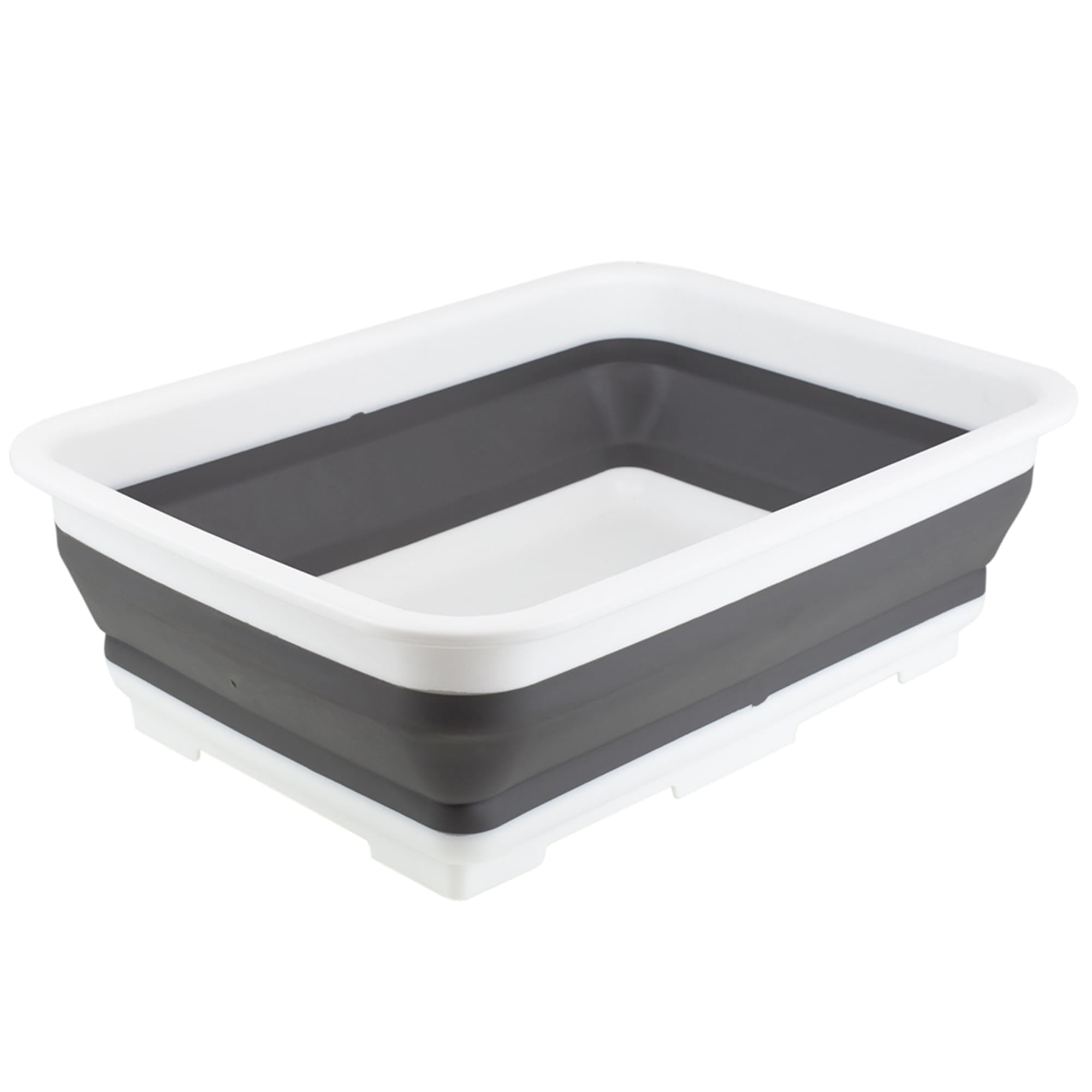 Michael Graves Design Pop Up Collapsible White Plastic and Grey Silicone Dish Pan