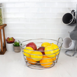 Simplicity Collection Fruit Basket, Satin Chrome
