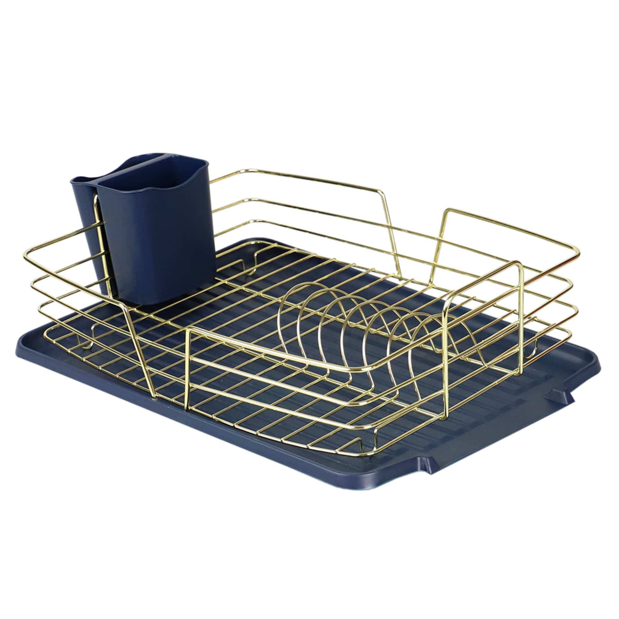 Michael Graves Design Deluxe Dish Rack with Gold Finish Wire and Removable Dual Compartment Utensil Holder, Navy Blue/Gold