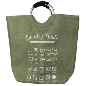 Laundry Guide Canvas Hamper Tote with Soft Grip Handles, Green