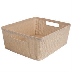 Home Basics Trellis Large Plastic Storage Basket with Cut-Out Handles, Brown - Brown