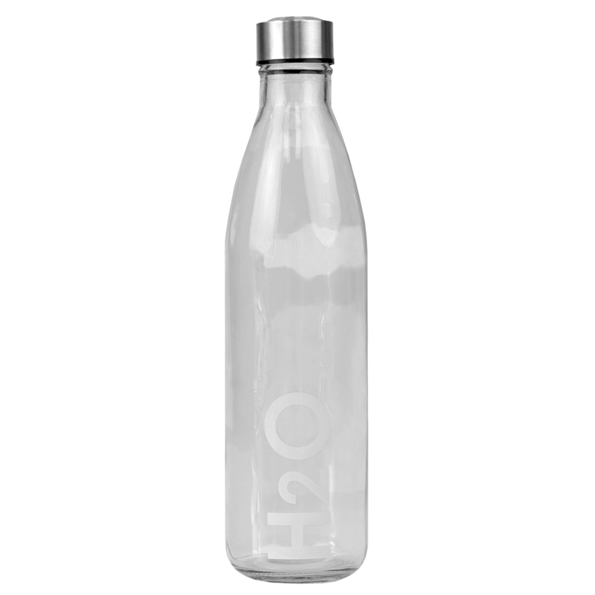 Home Basics H2O Clear 32 oz. Glass Travel Water Bottle with Easy Twist on Leak Proof Steel Cap, White - White