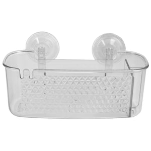 Large Cubic Patterned Plastic Shower Caddy with Suction Cups, Clear