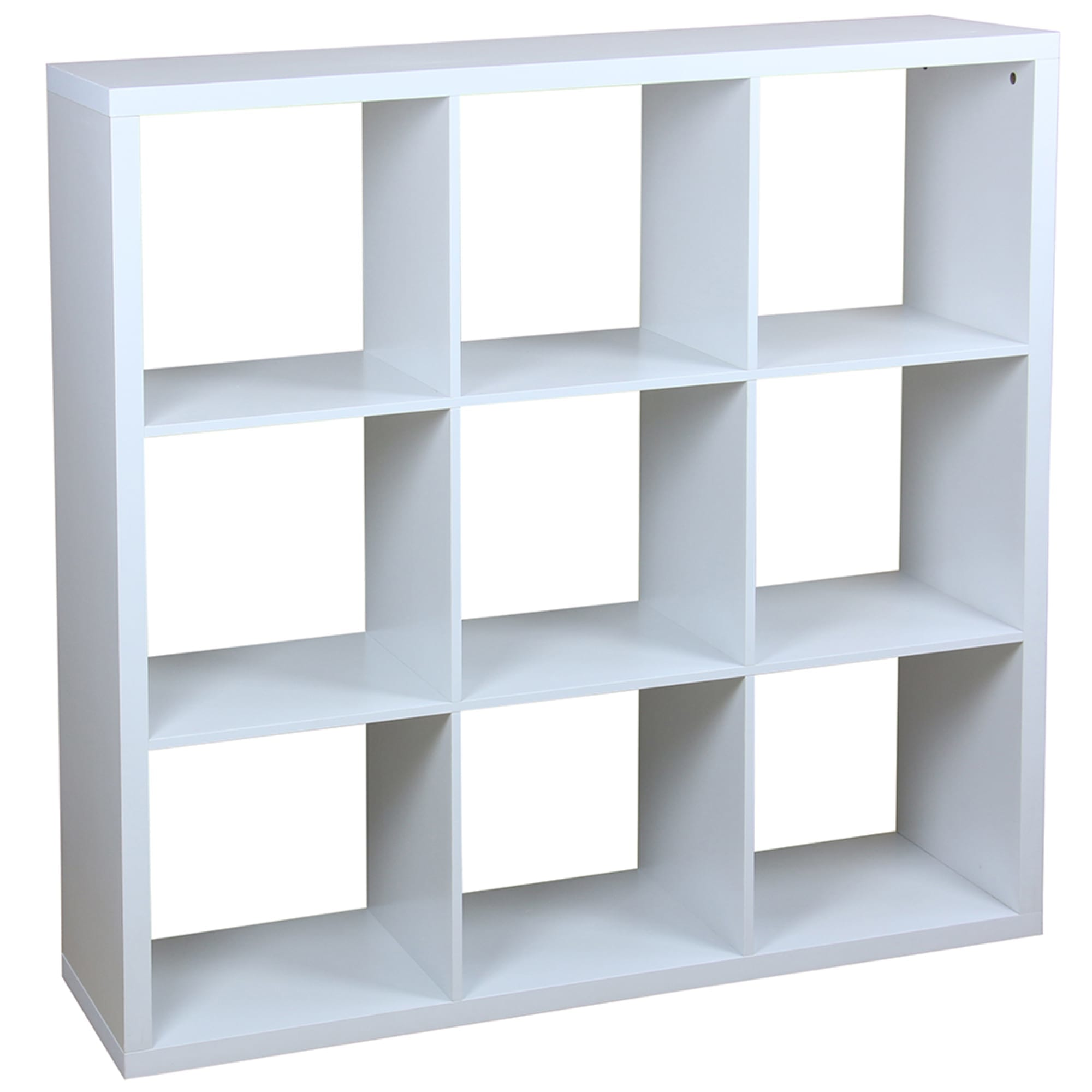 9 Open Cube Organizing Wood Storage Shelf, White