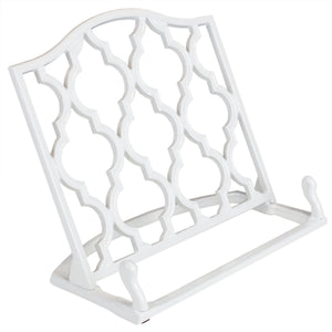 Lattice Collection Cast Iron Non-Skid Reading Rest Cookbook Holder, White