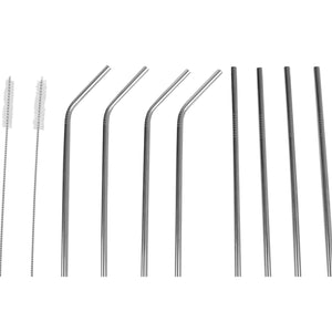 10 Piece Reusable Stainless Steel Drinking Straw Set, Silver