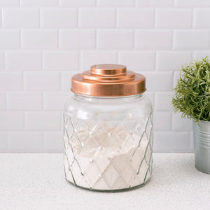 Small 2.6 Lt Textured Glass Jar with Gleaming Air-Tight Copper Top