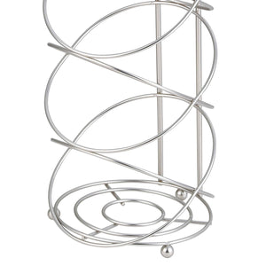 Modern Swirl Freestanding Dispensing Toilet Paper Holder, Satin Nickel