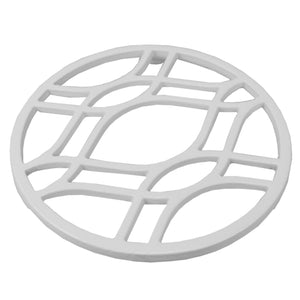 Iris Round Cast Iron Trivet, White