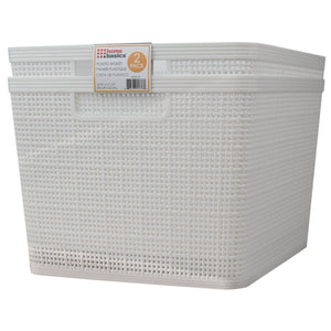 "Home Basics Trellis 13.25"" x 11.25"" x 8.75"" Multi-Purpose Stackable Plastic Storage Basket, (Pack of 2), White - White"