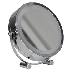 Double Sided Cosmetic Countertop Handheld Mirror with LED Light, Chrome