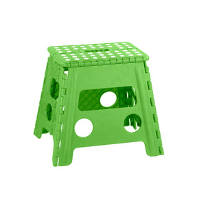Home Basics Large Plastic Folding Stool with Non-Slip Dots, Green - Green