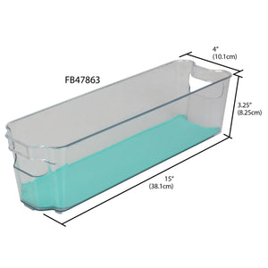"4"" x 15""  Multi-Purpose Plastic Fridge Bin with Rubber Lining, Turquoise"