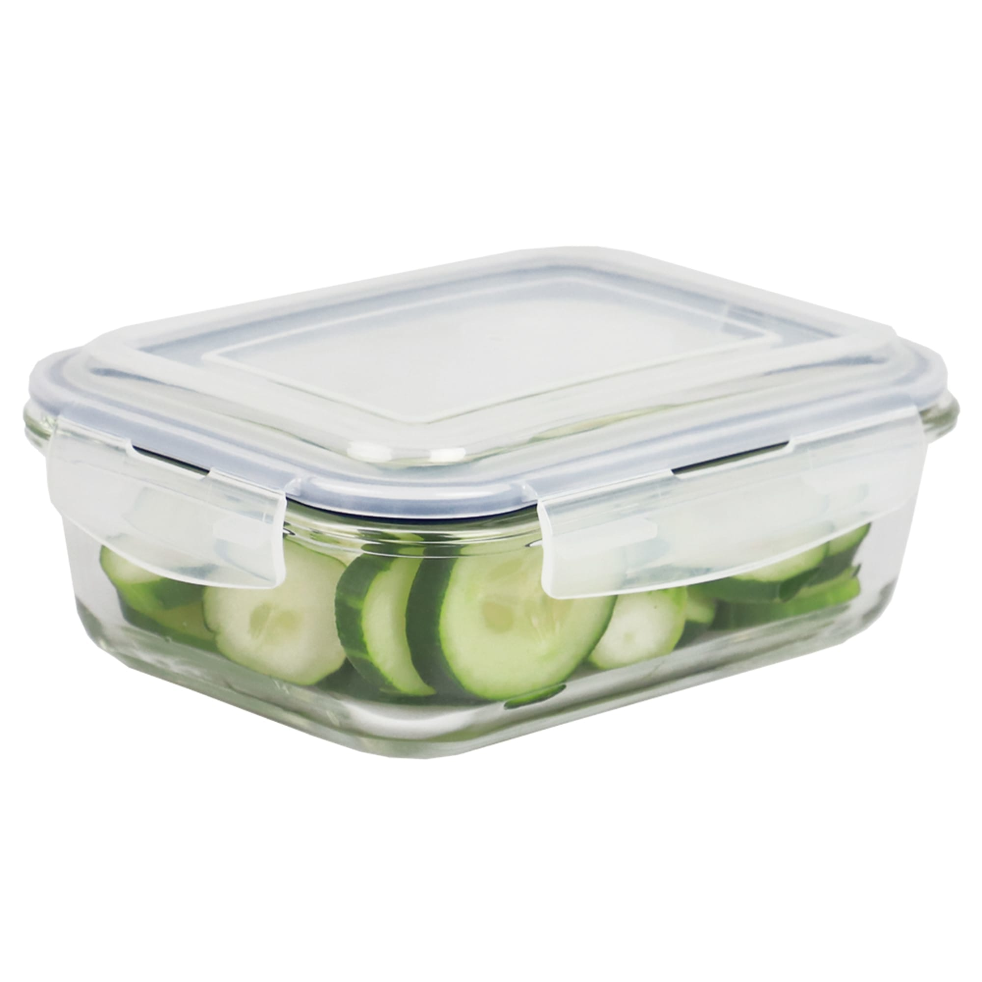 Michael Graves Design 35 Ounce High Borosilicate Glass Rectangle Food Storage Container with Indigo Rubber Seal
