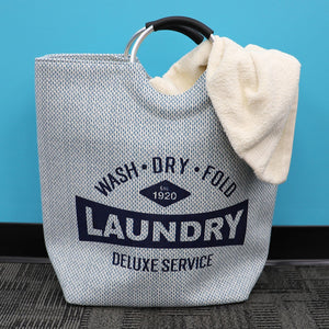 Deluxe Service Wash Dry Fold Canvas Laundry Tote with Soft Grip Padded Aluminum Handles, Blue