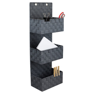 3 Tier Polyester Woven Hanging Bin, Grey
