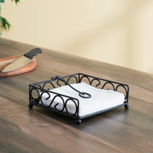 Scroll Collection Flat Napkin Holder with Weighted Pivoting Arm, Black
