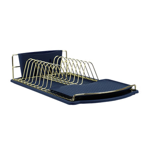 Michael Graves Design Gold Finish Steel Wire Compact Dish Rack with Oversized Utensil Holder, Indigo