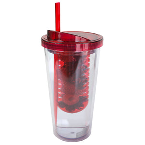 Home Basics 16 oz. Plastic Infuser Tumbler with Straw - Red