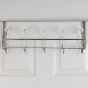 5 Hook Hanging Rack with Crystal Knobs, Chrome