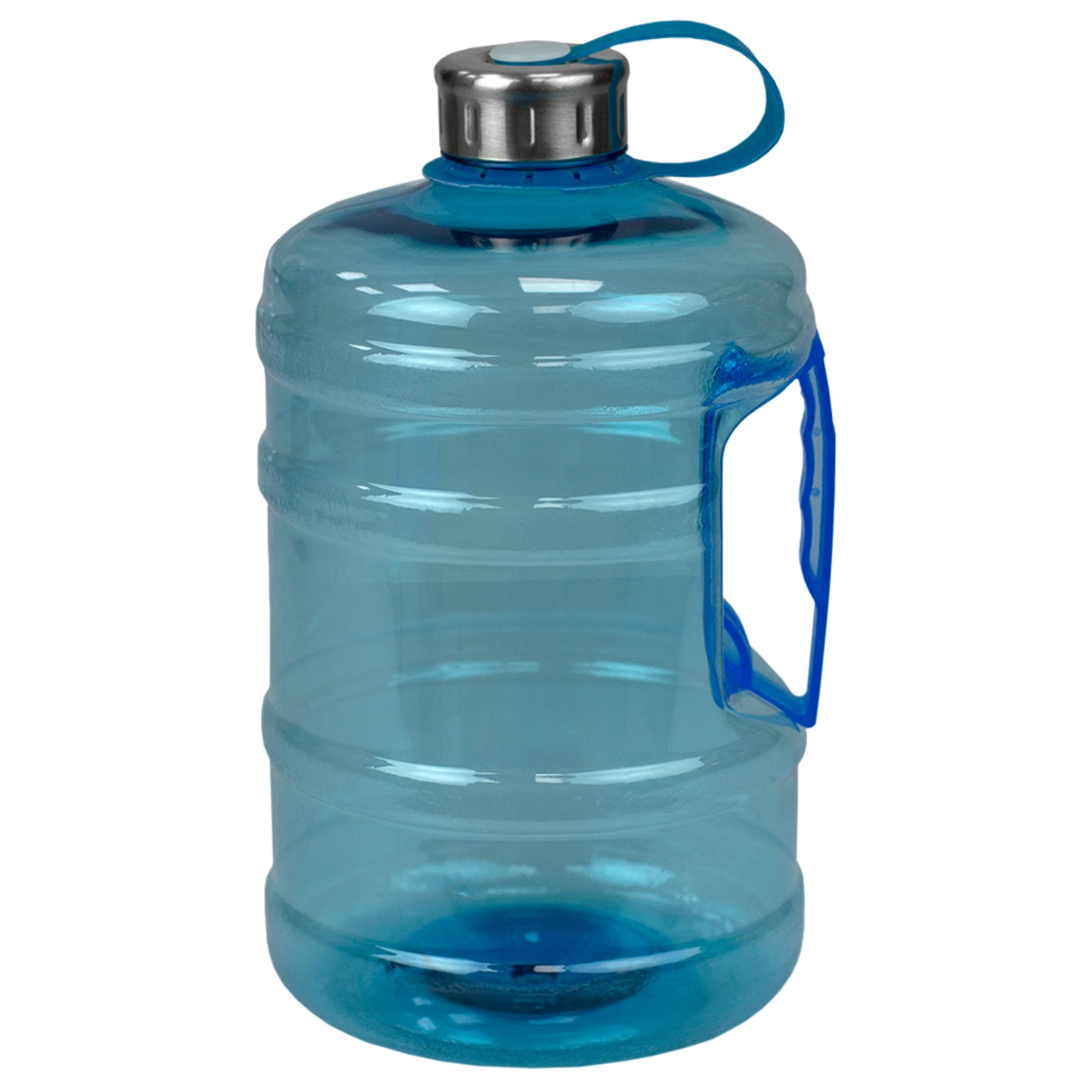 Home Basics Olympus High Capacity 67 oz. Plastic Sports Jug Travel Bottle with Tethered Stainless Twist-on Cap and Wide Grip Handle, Blue - Blue