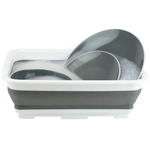 Collapsible Silicone and Plastic Multi-Purpose Storage Washing Basin, Grey