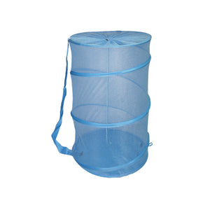 Sunbeam Mesh Barrel Laundry Hamper, Light Blue - Light Blue