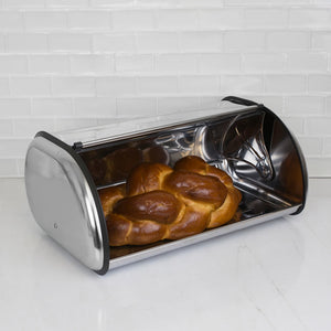 Roll-Top Lid Stainless Steel Bread Box, Silver