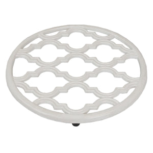 Lattice Collection Cast Iron Trivet, White