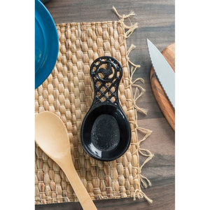 Cast Iron Rooster Spoon Rest, Black