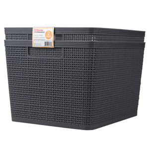 "Home Basics Trellis 13.25"" x 11.25"" x 8.75"" Multi-Purpose Stackable Plastic Storage Basket, (Pack of 2), Grey - Grey"