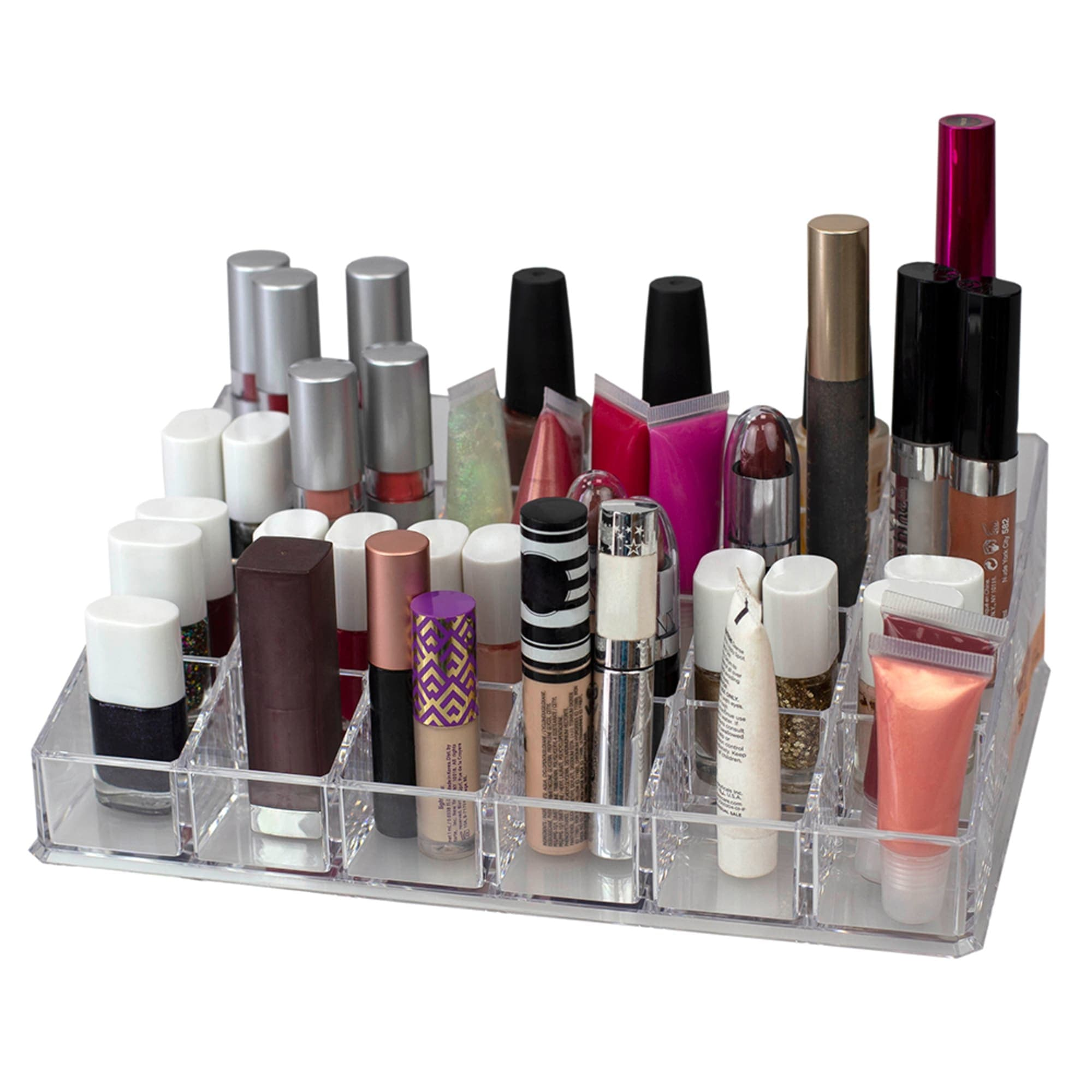 24 Compartment Transparent Plastic Cosmetic Makeup and Nail Polish Storage Organizer Holder, Clear