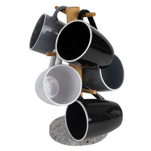 6 Cup Bamboo Mug Tree Holder Stand with Granite Base, White