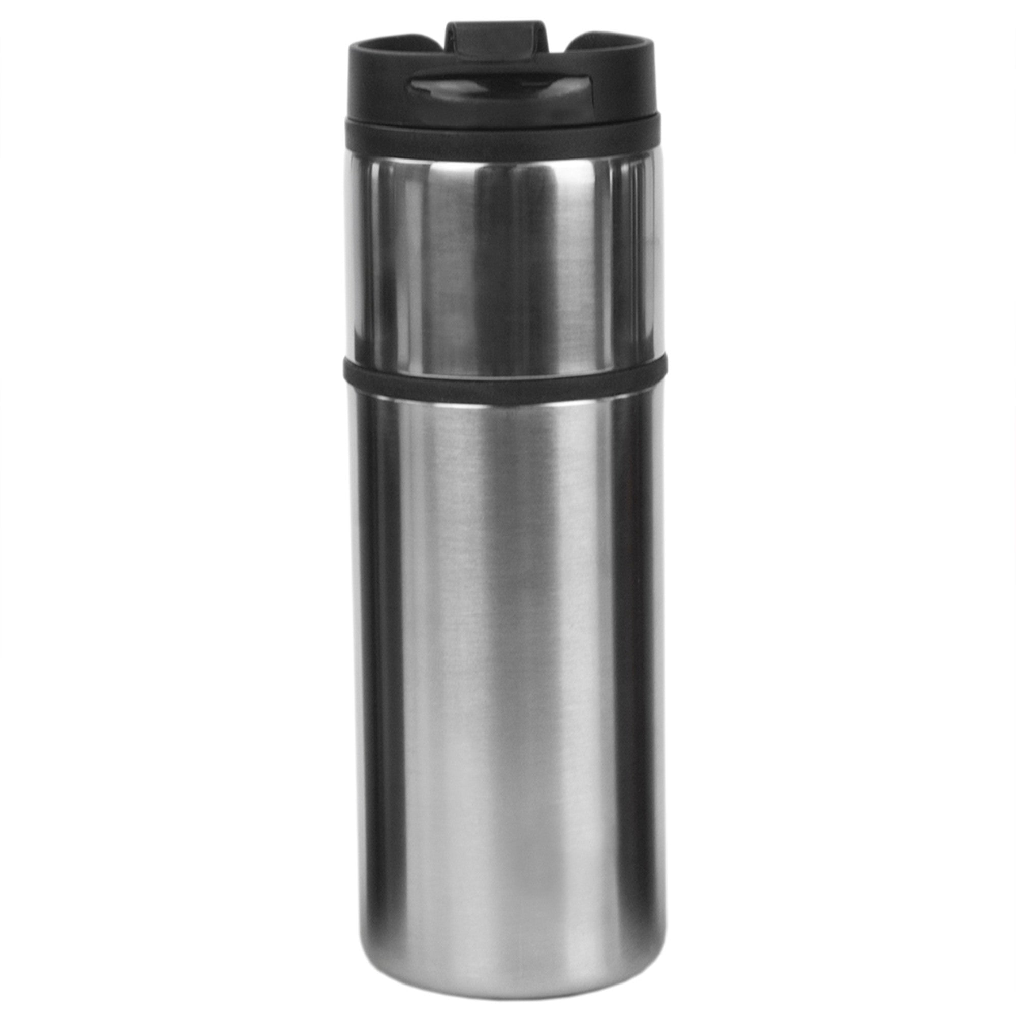 Home Basics Two Tone Stainless Steel 16 oz. Travel Mug, Silver - Silver