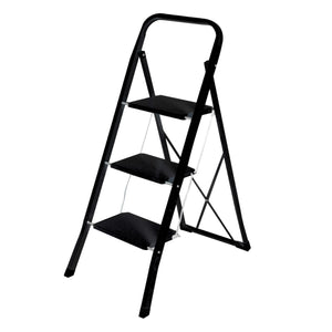 Home Basics 3 Step Folding Steel Ladder with Anti-Slip Steps and Non-Marring Feet
