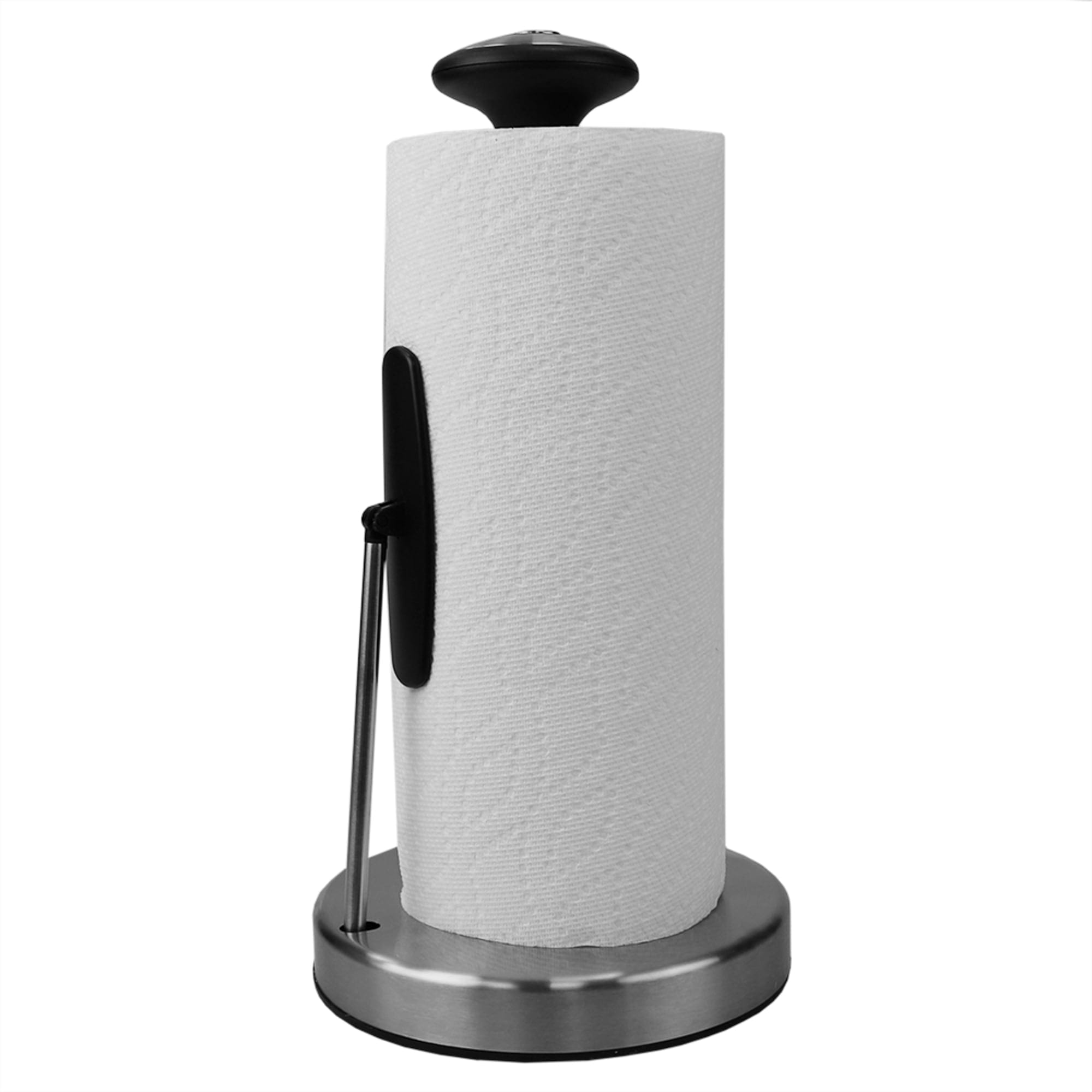 Michael Graves Easy Tear Tension Arm Freestanding Stainless Steel Paper Towel Holder, Silver
